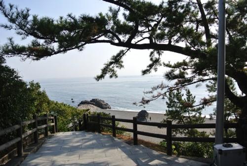Katsurahama beach looking down a stone staircase to the beach in Kochi.