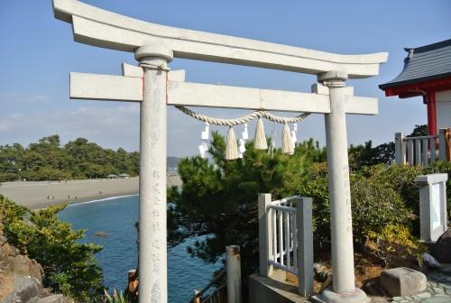 Katsurahama beach near a tori gate in Kochi.