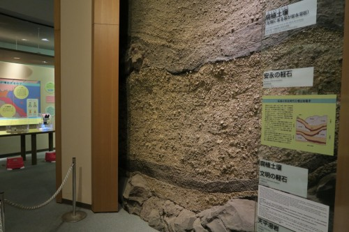 Sakurajima visitor center volcano rock formation display