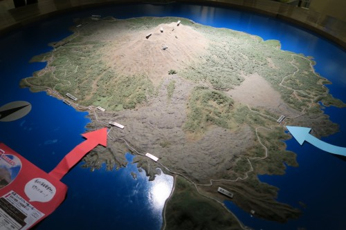 Sakurajima visitor center area map of the volcano and surrounding area