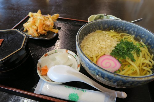set meal including orange noodles sold at Sakurajima rest stop