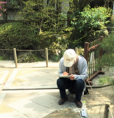 sitting in a garden temple