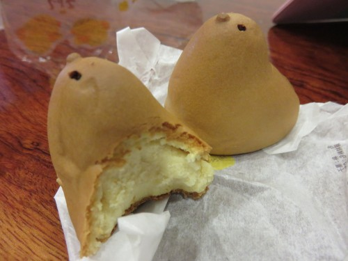 half eaten Hiyoko cakes, a Fukuoka delicacy