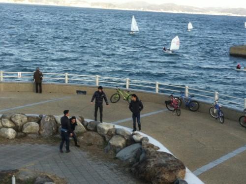 riding a bicycle to Kamakura seaside