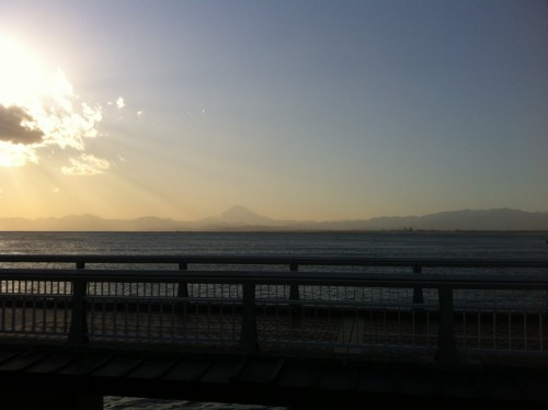 view of the beach while taking the Enoden train in Kamakura