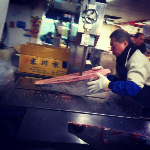 cutting tuna at Tsukiji fish wholesale market