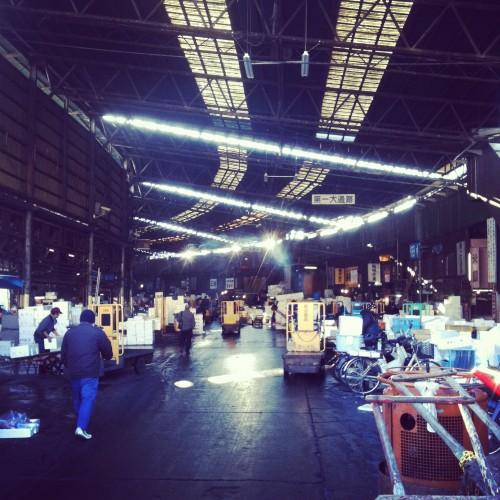 The inner market area of Tsukiji fish market