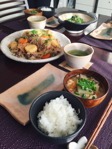 arranged with rice and miso soup,nikujaga is essential when you're considering to cook japanese cuisine