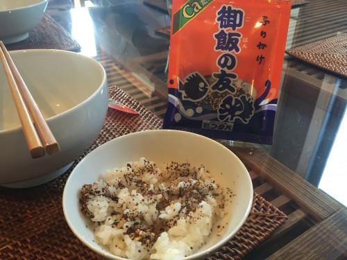 Gohan no tomo brand furikake (type of food seasoning) sprinkled on rice. Available in Kumamoto only