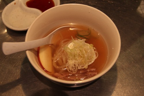 reimen cold noodles soup served in restaurant in Morioka