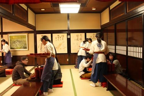servers in a wanko soba restaurant in Morioka