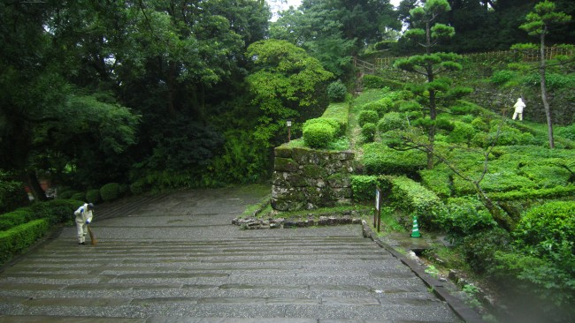 Kochi Castle stone walkway that exhibits long history.