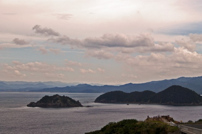 View of green nature scenery of islands in the water near Kagoshima.