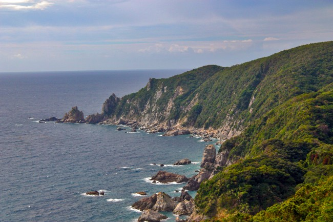 View of green nature cliff scenery of Kagoshima.