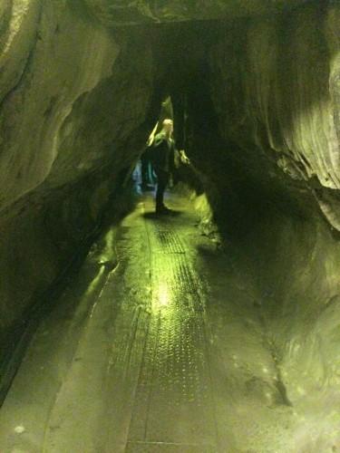 walking in a cave in Ikura-do in Okayama.