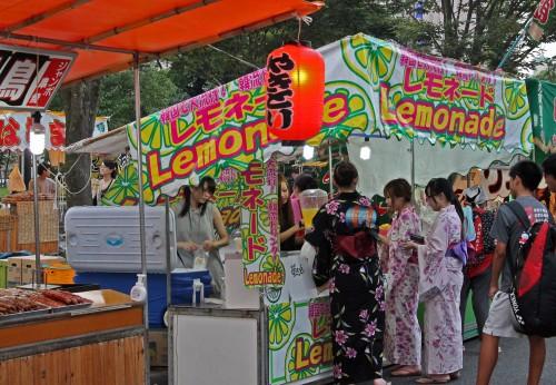 Stall at Rokugatsudo festival in Kagoshima.