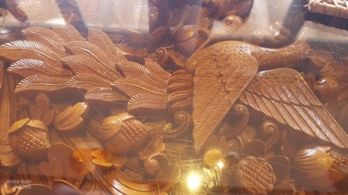 intricate woodwork of table