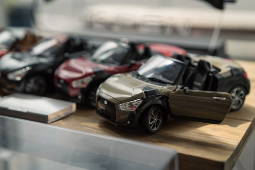 Miniature toy cars at Copen Local Base.