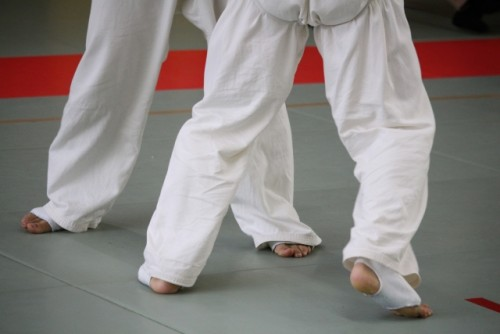 Two people in martial art robes to depect, from the Japanese word, Aikido from the pants down to show how qi comes from martial arts and Japanese genki is a good Zen qi.