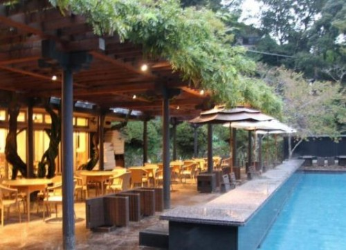 outdoor pool and seating area in cafe, Shimoda