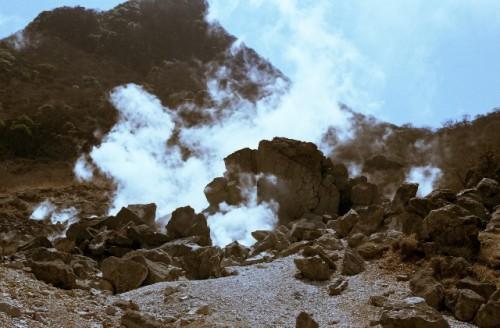 Steam rises, Owakudani caldera valley within abundant Hakone nature