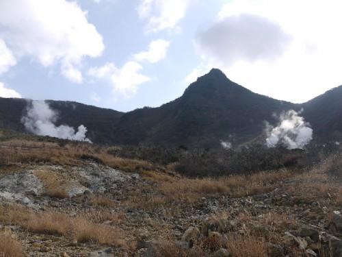 Sky view, Owakudani caldera valley within abundant Hakone nature