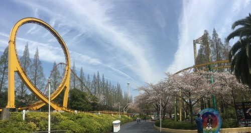 Nagashima Resort amusement park alongside flower garden