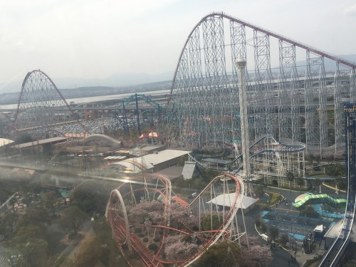 Nagashima Resort from on high, amusement park alongside garden park
