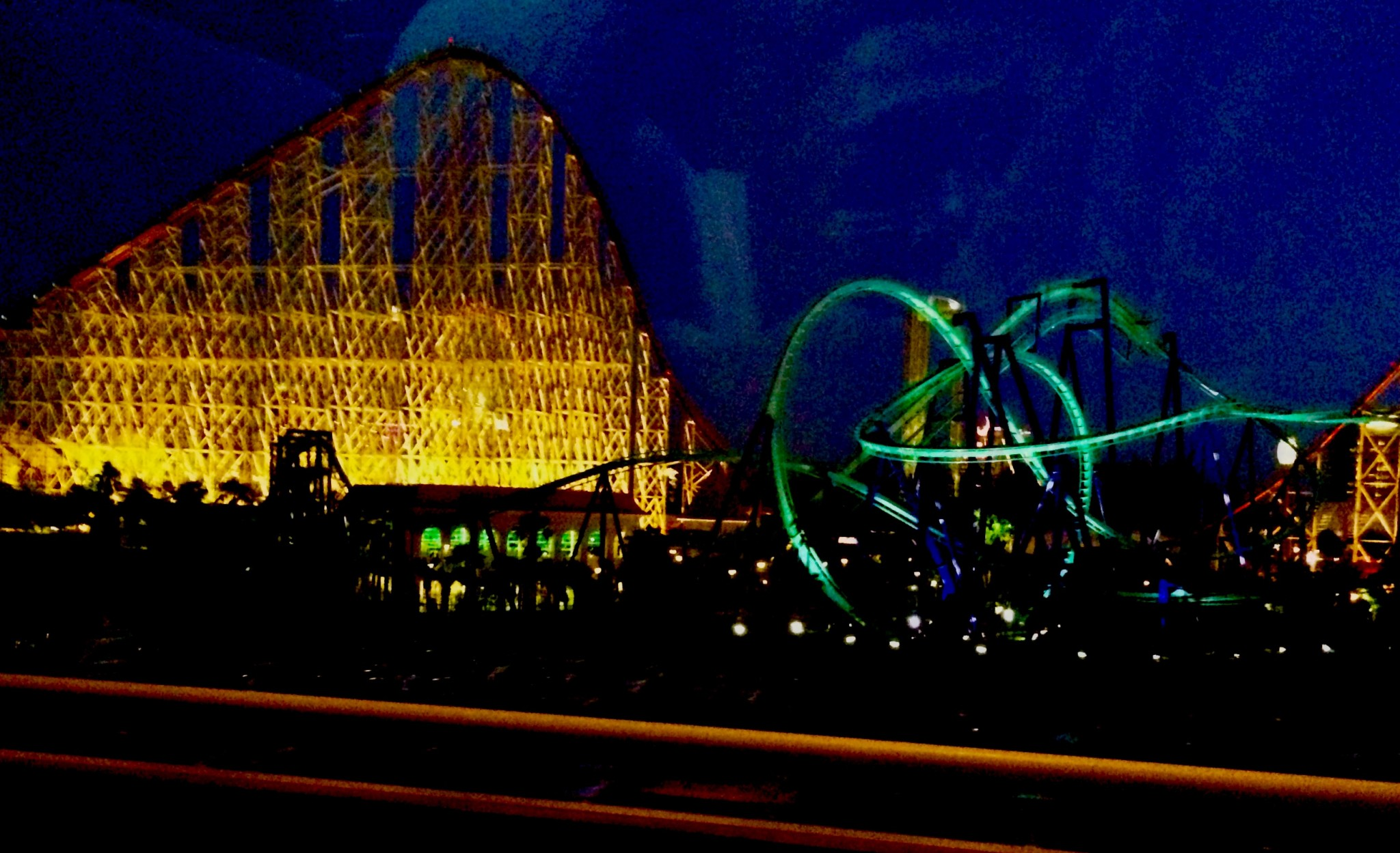 The night view of steel dragon in Nagashima Spa Land