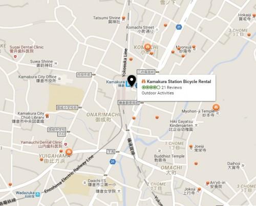 Access Map to Kamakura Station bicycle rental