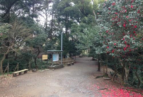 Genjiyama Park entryway after hiking Kewaizaka Pass, Kamakura