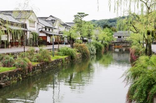 Canal flows through Kurashiki in Okayama, Japan also including Achi Shinre
