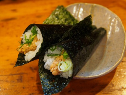 Truly Japanese, some natto maki, seaweed containing natto atop rice