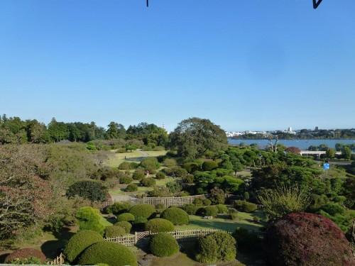 Kairakuen Garden view aside Senba Lake from Kobuntei, no plum blossoms during summer, Ibaraki prefecture