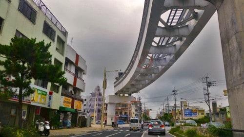 The monorail reaching to Naha international airport