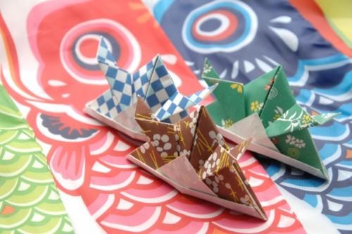 Origami samurai helmets and koinobori (carp streamers) representing Kodomo no Hi