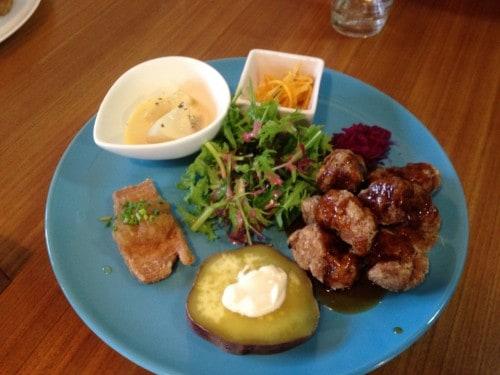 Tofu Steak plates in the Macrobiotic Restaurant