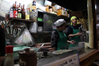 Chefs Preparing the Food at the Jajamen noodle shop, Morioka, Iwate.