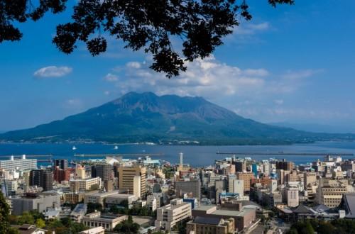 Sakurajima island is active volcano mountain in Kagoshima
