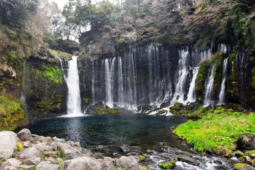 Shiraito Falls near the mountain of Fuji in Fujinomiya.