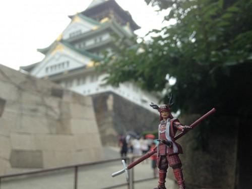 Sanada Yukimura figure in front of Osaka Castle.