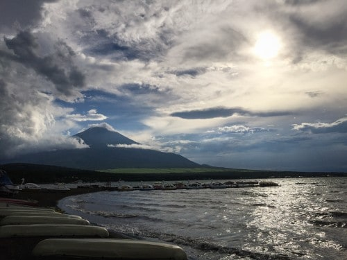 Mt Fuji view is stunning from our auto-camp place!