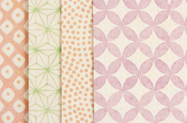 kimono pattern seen on washi paper