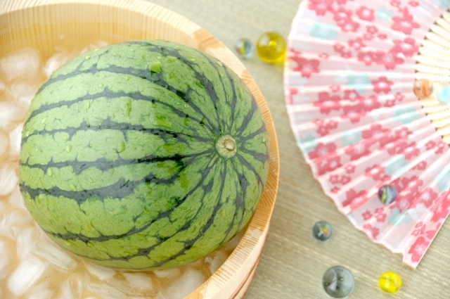 A sensu and watermelon...both necessities for the summer and good for fighting heatstroke