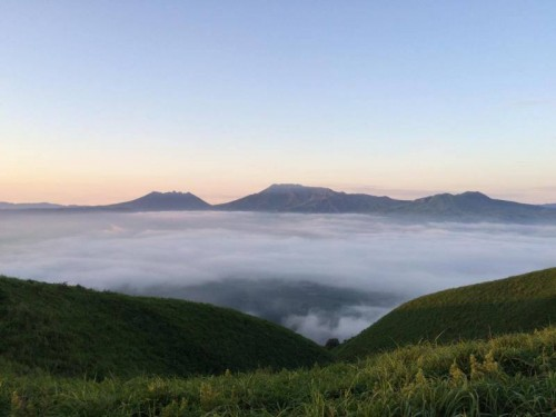 The stunning view from Mount Aso