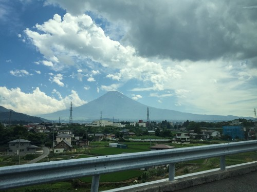 Mt Fuji view from our camper van!