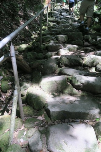 be careful not to fall while climbing on rocky stairs