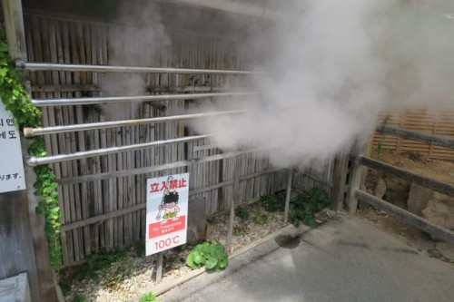 the temperature of this steam is going to be over 100℃, be careful not to approach closely!