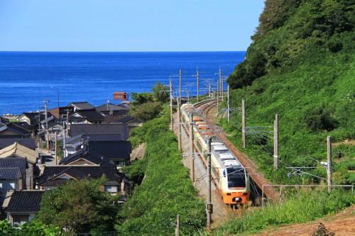 Taking JR Uetsu line along the Sea of Japan, Niigata prefecture, Japan.
