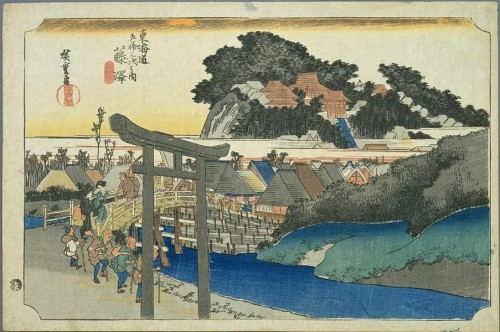 Another version of the 6th station in Fujisawa. You can see the Yugyo-ji bridge which still exists in Fujisawa today. Artist: Utagawa Hiroshige.